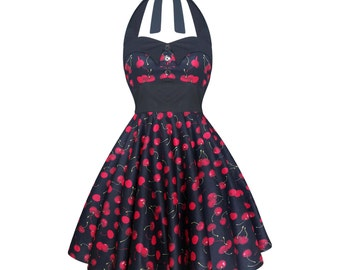 Cherry Dress Black Cherries Dress Rockabilly Dress Pinup Dress Plus Size Dress Goth Fantasy Dress Swing Dress Thanksgiving Dress Party Dress