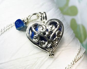 Worry Locket - lapis heart locket / heart locket / heart necklace / silver locket / lapis necklace / birthstone necklace / lapis lazuli