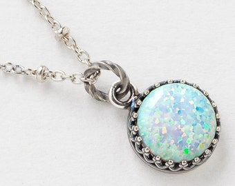 Silver Opal Necklace, White Opal Pendant, Australian Opal Necklace in Silver Filigree with Beaded Chain, October Birthstone Jewelry Gift