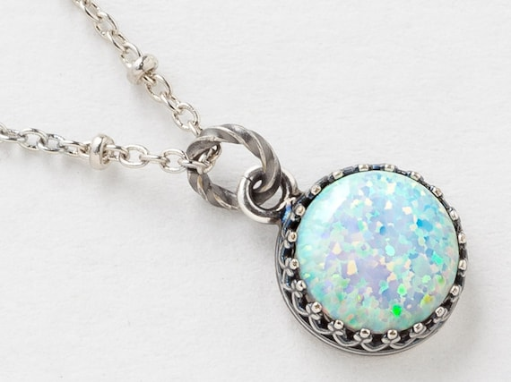 Silver opal necklace white opal pendant australian opal silver opal necklace white opal pendant australian opal necklace in silver filigree with beaded chain october birthstone jewelry gift aloadofball Image collections