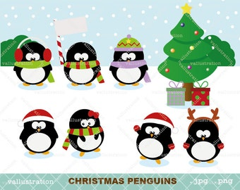 Christmas penguins set clip art for personal and commercial use (027)
