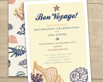 Bon voyage invite etsy choose your own color custom bon voyage shell retirement party seashell sand beach coral sand dollar sea crab party invite stopboris Image collections