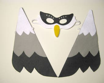 Bird mask wings set Black White Grey felt for kids handmade childrens costume accessory Dress up play Theatre roleplay Photo booth props