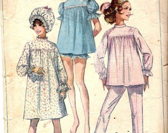 Vintage 1968 Simplicity 7841 Misses Pajamas in Two Lengths Nightgown and Curler Cap Sewing Pattern Size 12