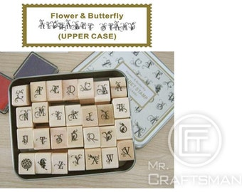 Uppercase 28 PCS DIY rubber letter stamps set ,vintage alphabet stamp set, Schoolbook styles in metal box