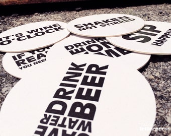 Assorted SNARKY - Letterpress Coasters (Set of 6)