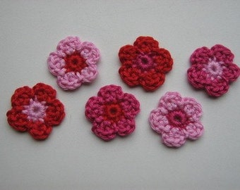 Set of 6 flowers Crochet Flower Appliques (Pink and Red)