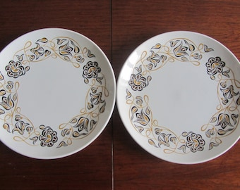 PAT SUMMERS - Poole Desert Song pattern applied to a Set of two ceramic Salad Plates in the Contour Range - Made in England - 1960s
