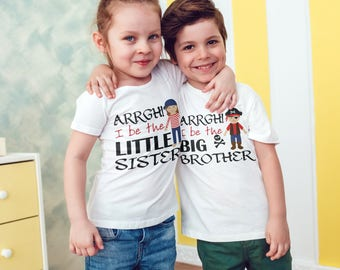 Pirate themed sibling set T-Shirts set of 2 , Childrens Toddlers T Shirt Top .