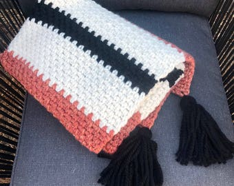 Jigsaw Collection Crochet Striped Throw Blanket