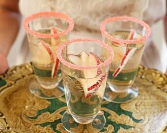 Coral cocktail rimming sugar - coral colored sugar - martini sugar, signature drink garnish - blush wedding decor - coral pink wedding favor