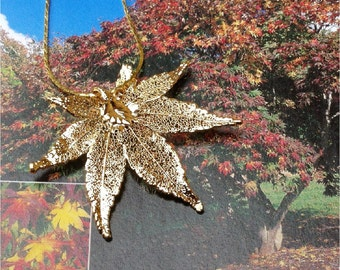 Real Leaf Jewelry, Japanese Maple Leaf Necklace Pendant, Gold Dipped or Antique Gold, natures leaves jewelry