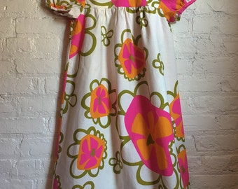60s psychedelic babydoll dress / floral dress / hawaaiin dress / linen / Waltah Clarke's / xsmall - small