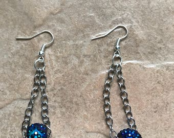 Iridescent Blue & Purple Drop Earrings; Statement Earrings