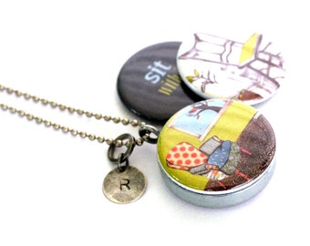 Picture Locket Necklace, Picture Locket, Art Locket, Gift for Her, Chair Art, Sit Down and Relax, Personalized Initial, Magnetic, 3 in 1