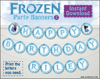 FROZEN personalized birthday banner! Print ANY name and age. Best value Frozen Elsa, Anna and Olaf flag/pennant/bunting version 2