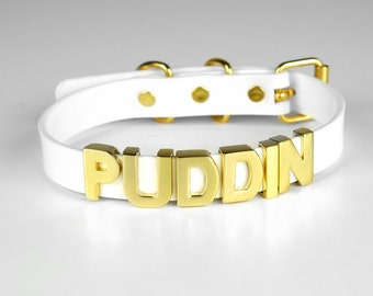 Harley Quinn PUDDIN Choker Replica | Harley Quinn Cosplay | Suicide Squad Movie | Halloween Costume | Comics | Small Letters - GOLD
