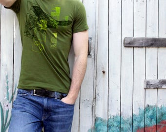 Darwin's Finches T-shirt Olive Green Graphic