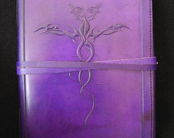 Large Handmade Purple Leather Journal Wicca Book of Shadows - Double Dragons Symbol