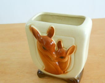 Vintage Royal Copley Deer Planter • American Pottery Planter • Doe and Fawn Planter