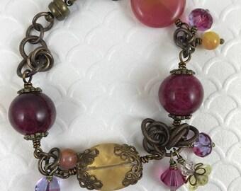 Statement Bracelet, Assemblage Bracelet, Beaded Bracelet