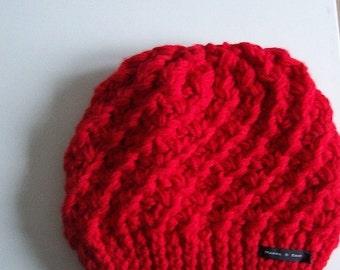 red beanie hat Hand knit beanie hat, Slouchy beanie hat red yarn hat soft warm knitted hat