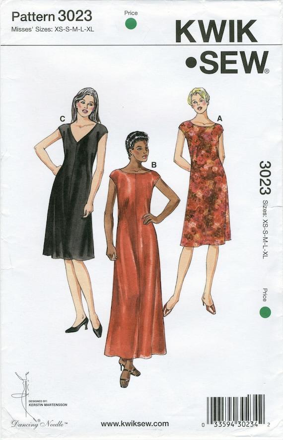 Knit Fabric Dress Sewing Pattern Plus Sizes XS S M L XL Kwik Sew ...