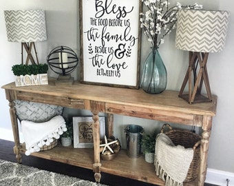 Bless the Food Before Us Wood Sign, Rustic Wood Sign, Framed Sign, Kitchen Sign, Dining Room Sign, Farmhouse Decor, Kitchen Decor