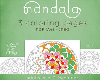 Mandala - Adult Coloring Pages vol1 - Beginner - Digital A4 pages for print in PDF and JPG formats
