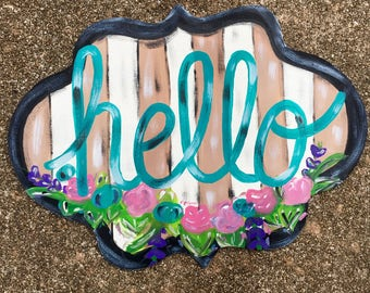 hello sign - home decor - wall sign - door hanger - welcome sign - painted sign - mother's day gift - spring decor - painted sign  - wreath