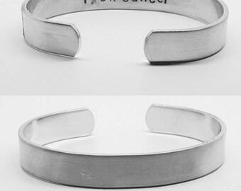 f % c k cancer:discreet, inside out hand stamped cancer awareness aluminum cuff by fandomonium