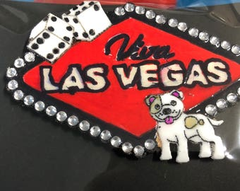 Around the word vegas wooden acrylic brooch