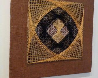 Vintage Mid Century String Art Geometric Design,Wall Art,1970's String Art