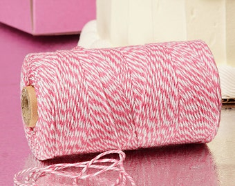 Strawberry Pink & White Duo 4-ply 100% Cotton Baker's Twine (Free Shipping!)