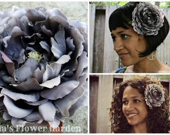 Gray peony hair flower clip, realistic, peony hair flower, Grey peony