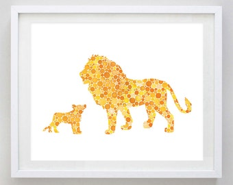 Daddy and Baby Lion Watercolor Art Print