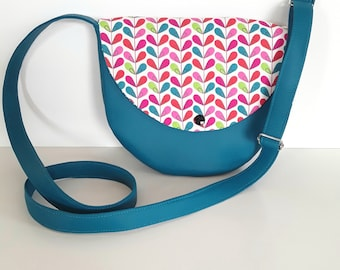purse girl fabric and teal multicolor flowers