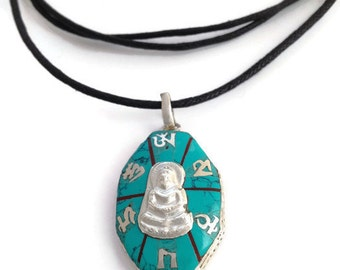 """Waxed Cotton Cord """"Tibetan Mani Mantra and Buddha"""" Pendant Necklace with sliding knots - 157-JP048"""