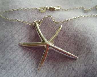 Large Starfish Sterling Silver Necklace in Sterling Silver Chain NBJ346 ~Beach Necklace ~ Gift Wrapped
