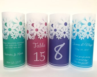 Table numbers,  Luminaries , birthday luminary, Wedding table centerpiece, wedding luminary, daisy luminary, floral luminaries, daisy candle