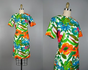 Vintage 1960s Tropical Floral Cotton Dress 60s Hawaiian Dress by Stan Hicks Size S