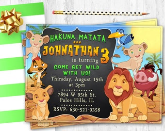 Lion Birthday Party Invitation Lion Invite Lion