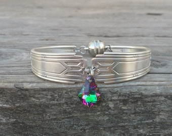 Art Deco Spoon Bracelet With A Swarovski Crystal