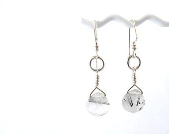 Tourmalinated Quartz Teardrop Earrings
