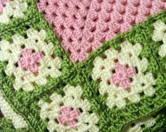Custom Crochet Granny Square Baby Blanket