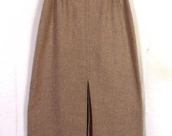 vtg 70s College Town Beige Wool Tweed Pencil Skirt + tweed leather belt 25 waist