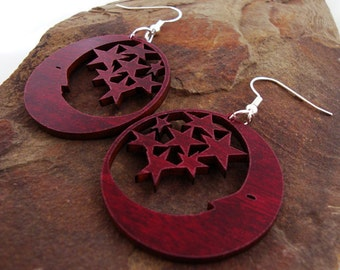 Sustainable Wooden Earrings - Moon and Stars - in Red Stained Maple Wood