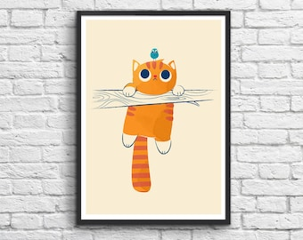 Art-Poster 50 x 70 cm - Fat Cat, little Bird