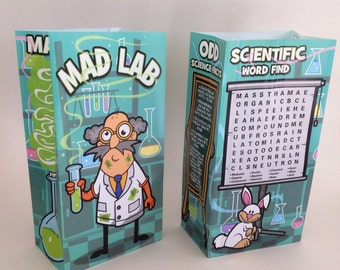 """Paper """"Mad Lab"""" Kids' Meal Bags...12 CT....kids lunch bags, birthday party supplies,food storage,  lunch container,,party bags,"""