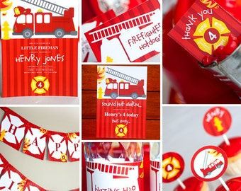 Firefighter Birthday Party Theme - Instantly Downloadable and Editable File - Personalize and Print at home with Adobe Reader